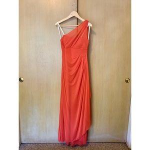 David's Bridal long mesh one shoulder dress